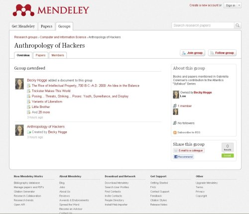 Screenshot from Mendeley