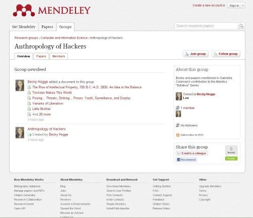 Screenshot from Mendeley
